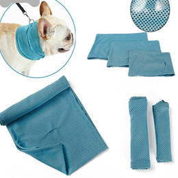 $enCountryForm.capitalKeyWord Australia - Dog Ice Cooling Bandana Pet Cat Scarf Summer Breathable Cooling Towel Wrap Blue Bows Accessories In Retail Bag Pack AN2471