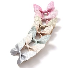 Hair clips for infants online shopping - 7 Colors Infant Bow Hair Accessories Hair Pin for Girls PU Leather Butterfly Hair Clip JFNY040