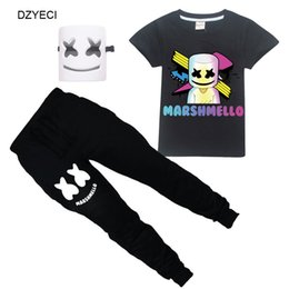 China Marshmello Outfit For Big Boy Girl Sport Set Clothes Dj Music Kid Boutique T Shirt+Trouser 2PC Tracksuit Children Suit Clothing suppliers