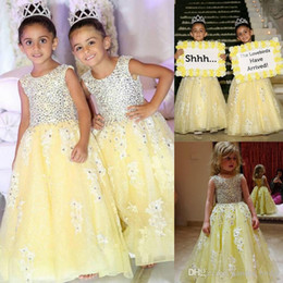 images beautiful cute pink gown NZ - Beaded Yellow Cute Flower Girls Dresses A-line Lace Girl Event Gown Custom Made High Quality Beautiful Little Children Party Wear Maxi Gowns
