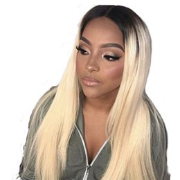 $enCountryForm.capitalKeyWord UK - Brazilian Lace Front Wigs 1bT 613 Blond Human Hair Lace Wigs for Black Women Medium Cap silk top With baby hair Silky Straight