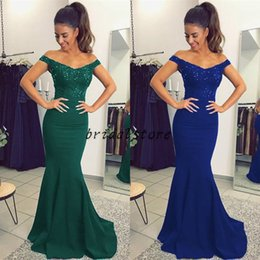 $enCountryForm.capitalKeyWord Canada - Simple Turquoise Off Shoulder Prom Dresses Beaded Lace Elegant Formal Evening Gowns Satin Juniors Modest Custom Made Party dresses For Teens