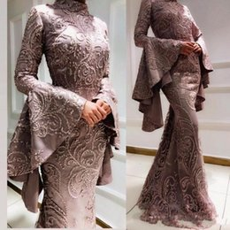 Pear droP crystal online shopping - 2020 Vintage Arabic Muslim Mermaid Sexy Prom Dresses Embroidery Beaded Long Sleeves Satin Formal Evening Pageant Gowns
