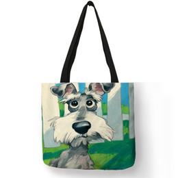 Bag Prints NZ - Personalized Dog Art Print Linen Tote Bag Schnauzer Golden Retriever Women Fabric Handbag Student School Bags Traveling Shopping