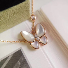 Wholesale Luxurious quality S925 Sterling Silver and brand name pendant necklace with diamond and butterfly shell for women wedding gift jewelrydrop