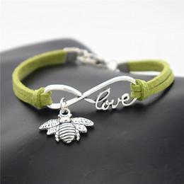 $enCountryForm.capitalKeyWord Canada - 2019 new hot handmade braided green leather rope male female Charm bracelets bangles cuff Infinity Love Cute Honeybee Honey Bee gift jewelry