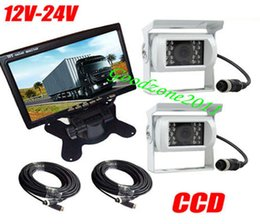 Truck cables online shopping - 2 x V V White Waterproof CCD Reverse Backup Camera Pin quot LCD Monitor Car Rear View Kit for Bus Truck Free m cable