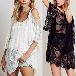 $enCountryForm.capitalKeyWord NZ - Women Fashion Beach Dress Sexy Strap Sheer Floral Lace Embroidered Crochet Summer Dresses Hippie Boho Dress designer clothes