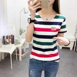 0ea8325b9b Women s Slim Cheap Tops Striped Print Short Sleeve Woman Female Casual T-Shirt  Girl Shirts Hot Sale New Arrival 2019
