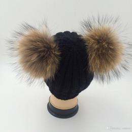 Grey Bobble Hat Australia - Double Real Raccoon Fur Hat Pom Poms Winter Hat Women Wool Knit Beanie Bobble Ski Cap Pompom Beanies Gorros Thick Female Caps W1