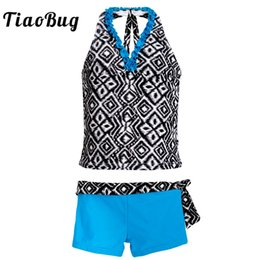 teens suits 2019 - TiaoBug Kids Teens Two-piece Geometric Pattern Halter Swimsuit Girls Two-piece Tankini Swimwear Bathing Suit Beach Bikin