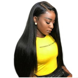 Silky Straight Lace Wigs UK - 250 Density Full Lace Human Hair Wig For Black Women Long Black Brazilian Virgin Hair Silky Straight Lace Front Wigs With Baby Hair