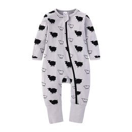 kids jumpsuit romper playsuit NZ - New baby zipper romper New Newborn Baby Clothes Boys Girls Printed Long Sleeve Cotton Romper Kids Jumpsuit Playsuit Outfits