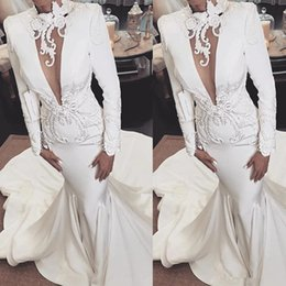 gold long sleeve bride wraps NZ - Hollow High Neck Wedding Dresses 2020 Modern Long Sleeve Lace Applique Embroidery Mermaid Sweep Train Bride Wedding Gown