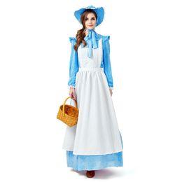 $enCountryForm.capitalKeyWord UK - Sky Blue Fancy Dress Women Maid Halloween Costume Pastoral Style Farm Long Dress California Pioneer Cosplay Clothing Plus Size