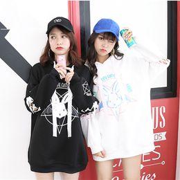 $enCountryForm.capitalKeyWord NZ - Harajuku Cute Lolita Women Tumblr Sweatshirt Rabbit Pentacle Print Lace Up Hoodies Loose Tracksuit Pullover Female Sweatshirt