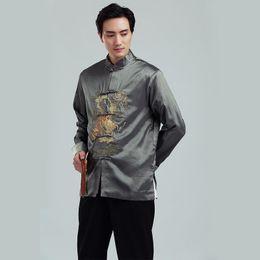 $enCountryForm.capitalKeyWord NZ - 2019 New Long Sleeve Tang suit Chinese Traditional dragon printed Jacket chinese clothing mandarin collar Jacket Men