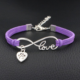 $enCountryForm.capitalKeyWord NZ - Hot Antique Silver Plated Infinity Love Pets Dog Paw Heart Charm Bracelet Bangles with Purple Leather Suede Friendship Jewelry For Men Women