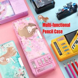 gift fancy pens Australia - Cartoon Fancy Stationery Multi-function Pen Box Plastic Two Layer Double Open Multi-layer Pencil Case Student Gift School Supply