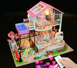 $enCountryForm.capitalKeyWord NZ - Eduacational Novelty Toys & Gift 3D DIY Wooden Doll House Miniature with Furnitures Led light Music Box Handmade Craft SWEET WORDS