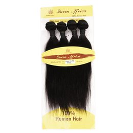 processed straight hair Canada - Queen Africa Brazilian Hair Bundles Straight Bundles Human Hair Weave12 inch Natural Color 4 Bundles Brazilian Straight