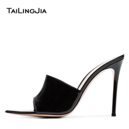 dfee2e0887e2 2018 Woman Mules Sandals Slide Slippers Black Stiletto High Heels Slip On Shoes  Pointed Toe Patent Leather Outside Fashion Shoes