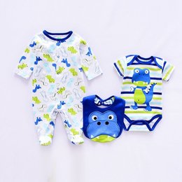 $enCountryForm.capitalKeyWord NZ - Summer Baby Boy Rompers 3pcs Sets Cotton Cute Baby Clothes Romper Suit Newborn Girl Suit Infant Long Sleeve Rompers+rompers+bib Y19050602