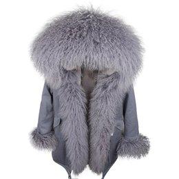 Großhandel 2019 MAOMAOKONG Grauer Kaninchenfell-Parka mit grauem Mongolei-Schafspelzbesatz