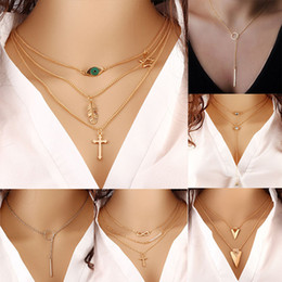 Beads long chains online shopping - Choker Necklaces Boho Pearls Diamond Chain Multilayer Long Necklaces Women Beads String Tassel Gold Chain Necklace Party Favor DHL WX9