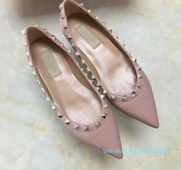 flat studs NZ - sale! size 35-43 genuine leather stud ballerina flats blue black nude red yellow rose pink luxury designer runway classic fashion womens s06