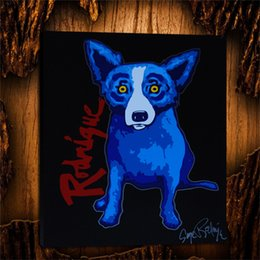 $enCountryForm.capitalKeyWord Australia - Blue Dog on Black Background with Red Rodrigue,1 Pieces Home Decor HD Printed Modern Art Painting on Canvas (Unframed Framed) 24x28.