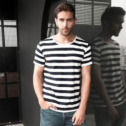 f42b1c2c2ca Zecmos Navy Striped Sailor T-shirt Men Summer Black And White Striped Loose T  Shirt Men Horizontal Sea Style C19041701