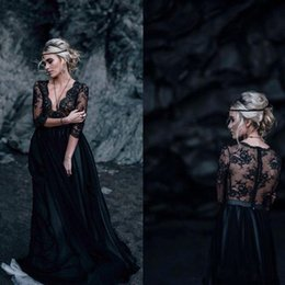 Black Beach Wedding Dresses Australia - Sexy Deep V Neck Black Gothic Wedding Dresses Bohemian Top Lace Half Sleeve Tulle Beach A-Line Bridal Gowns