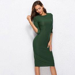 Female Dresses Australia - 2019 Summer Dresses Casual O-neck Ladies' Tops Sleeve Thin Slim Women Dress Green Dresses Female Clothing