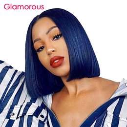 $enCountryForm.capitalKeyWord Australia - Lace Front with Baby Hair Short Human Hair Wigs Brazilian Remy Bob Wig Blue Color