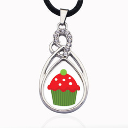 $enCountryForm.capitalKeyWord Australia - Holiday Cupcake Circle Charm Necklace for crystal stars Pendant Chain Necklaces & chokers Fashion Jewelry