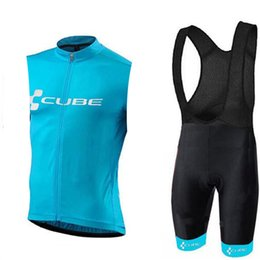 Cube Bicycle Clothing Australia - 8 color Summer CUBE Men Cycling Jersey sleeveless Set Breathable bib shorts Bicycle Clothes 9D Gel Pad Clothing