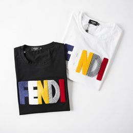 Trends T shirTs online shopping - 2019 new hot summer trend men and women with the letter embroidery couple short sleeved T shirt wild breathable personality round neck