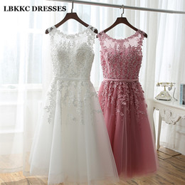 Short White Lace Robe Australia - Short Bridesmaid Dress Cheap Knee Length Lace With Tulle Pink White Robe Demoiselle D'honneur Short Dresses For Wedding