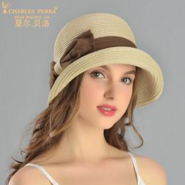 ElEgant straws online shopping - Charles Perra Sun Hats Female Spring Summer New Foldable Women Sunscreen Straw Hat Fashion Elegant Butterfly Knot