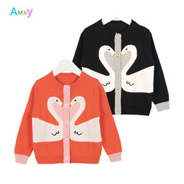 BaBy girl sweater knitting patterns online shopping - New Spring Baby Girls Swan Pattern Sweater Kids Clothes Boys Knitted Cardigan Long Sleeve Children Tops Jackets