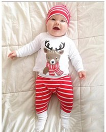 christmas clothes Australia - Ins explosion children's clothing for foreign trade special set baby Christmas cotton long-sleeved deer head striped print children