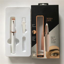 beard trimming kits Australia - Lipstick Eyebrow Trimmer Face Brows Hair Remover Epilator Pen Mini Electric Shaver Painless Eye Brow Epilator with Folded Boxes