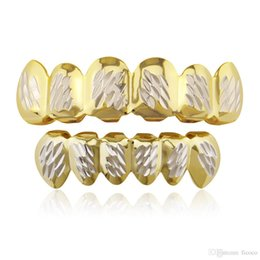 $enCountryForm.capitalKeyWord NZ - Gold Silver Teeth Grillz Set With Wax Model Vampire Iced Out Hip Hop Jewelry Stainless Steel Jewelry