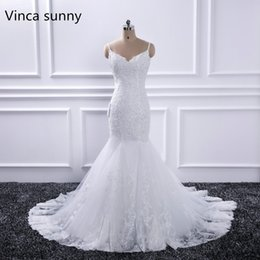 wedding dresses straps NZ - 2019 Elegant White Wedding Dresses Sexy V Neck Spaghetti Straps mermaid Bridal Dress Robe De Mariee Spring vestido de noiva New