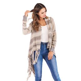 63cc233039ec Discount poncho shirts - Autumn Winner Sweater Women Daily Stripes Poncho  Fall Tassels Slash Gradient Shawl