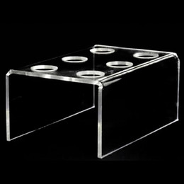 Discount wedding cake designs cupcakes New Design 6 -Hole Acrylic Clear Cupcake Ice Cream Cone Display Holder Bakeware Stands Cake Shelf Wedding Birthday Party