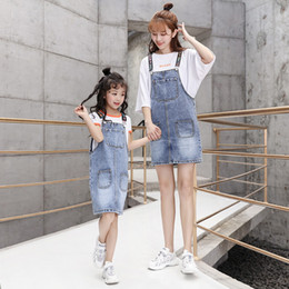 Children s fashion jeans online shopping - Fashion parent child clothing Summer suit new style Mother and daughter jeans strap skirt