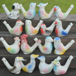 ceramic whistles wholesale NZ - 100pcs water bird whistle clay Birds ceramic china Glazed bird whistle-peacock Warbler Novelty whistles Free Shipping