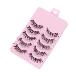$enCountryForm.capitalKeyWord UK - 5 Pairs Handmade Long Mink Hair Thick Cross False Eyelashes Natural Eye Lashes Makeup Beauty Extension Tools Wimpers